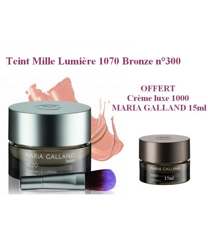 Teint Mille Lumière 1070 MARIA GALLAND Bronze n°300 OFFERT Crème luxe 1000 MARIA GALLAND 15ml