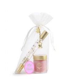 "Coffret Pochon ""Roll-on and Spray"" (12 ml) et bain crème (30 ml) IRIS ROSE"